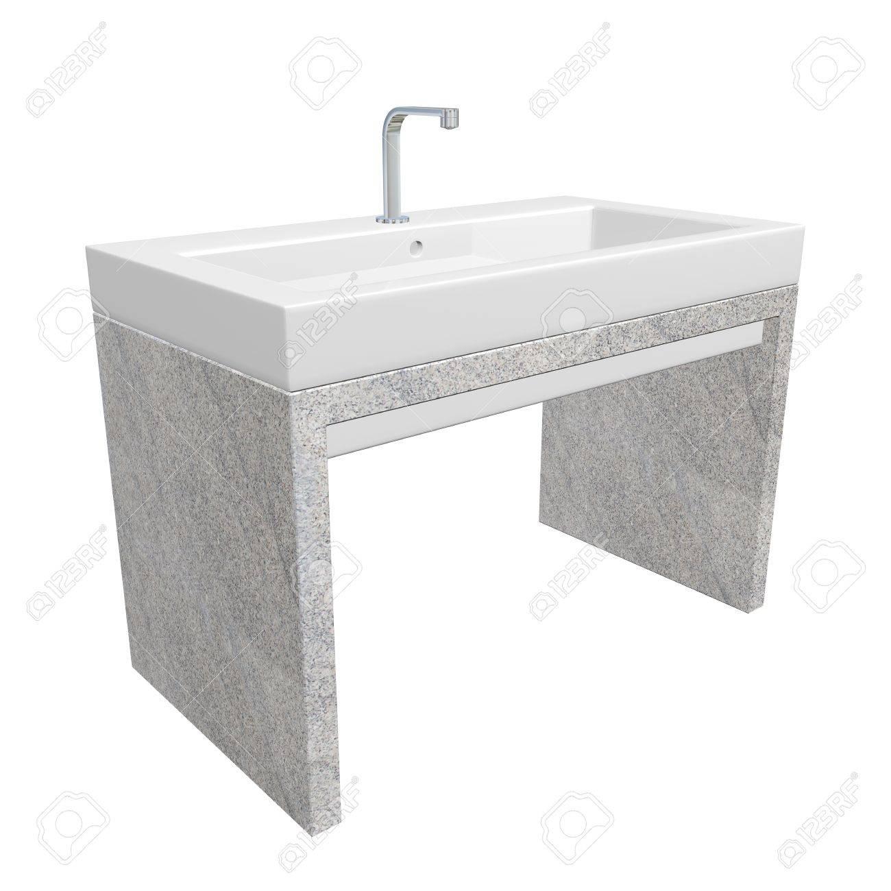 Évier salle de bain moderne situé avec lavabo en céramique ou en ...