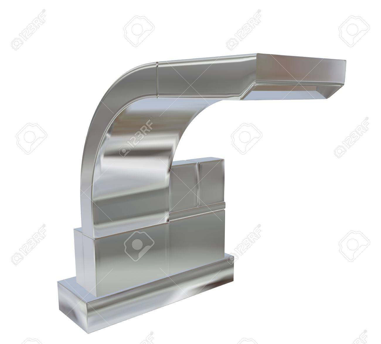 Modern Square Faucet With Chrome Or Stainless Steel Finishing, 3d  Illustration, Isolated Against A