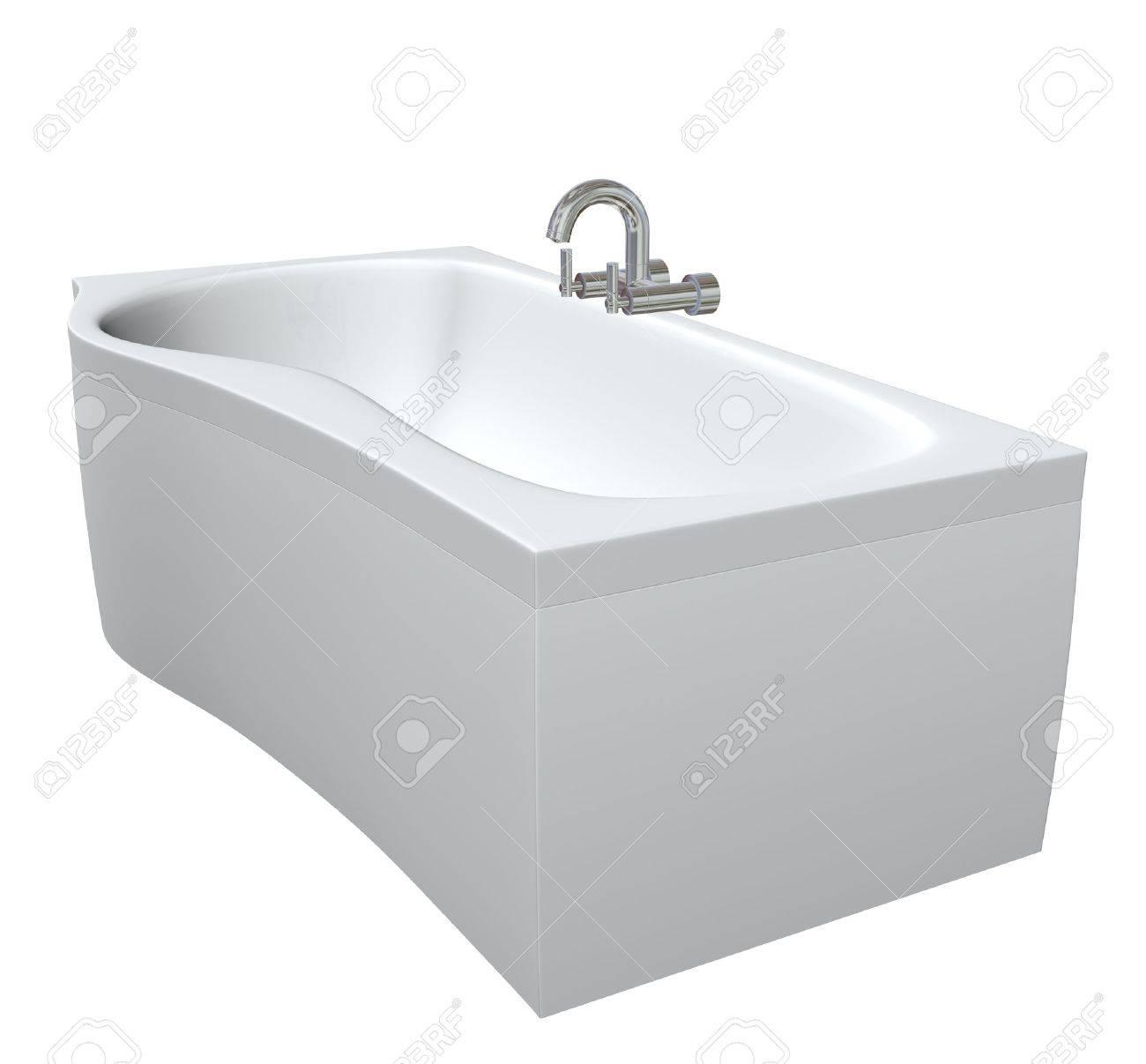 Vasca da bagno in ceramica o acrylc impostato con infissi cromati ...