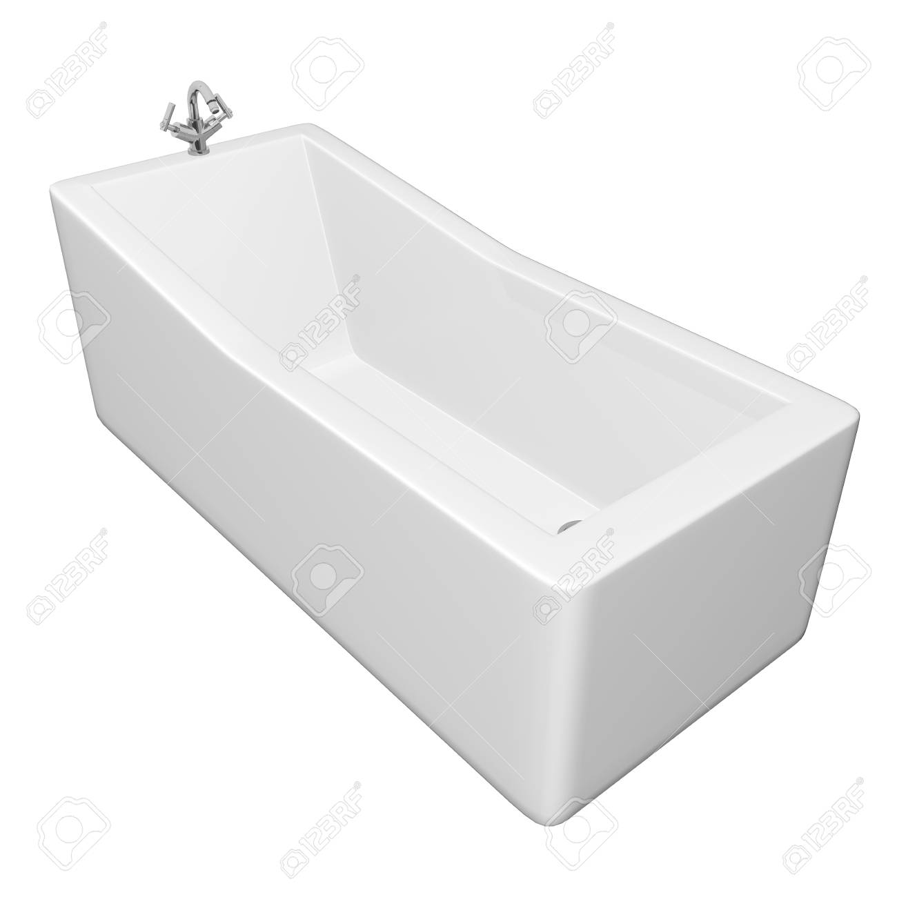 White Rectangular Bathtub With Stainless Steel Fixtures, Isolated ...