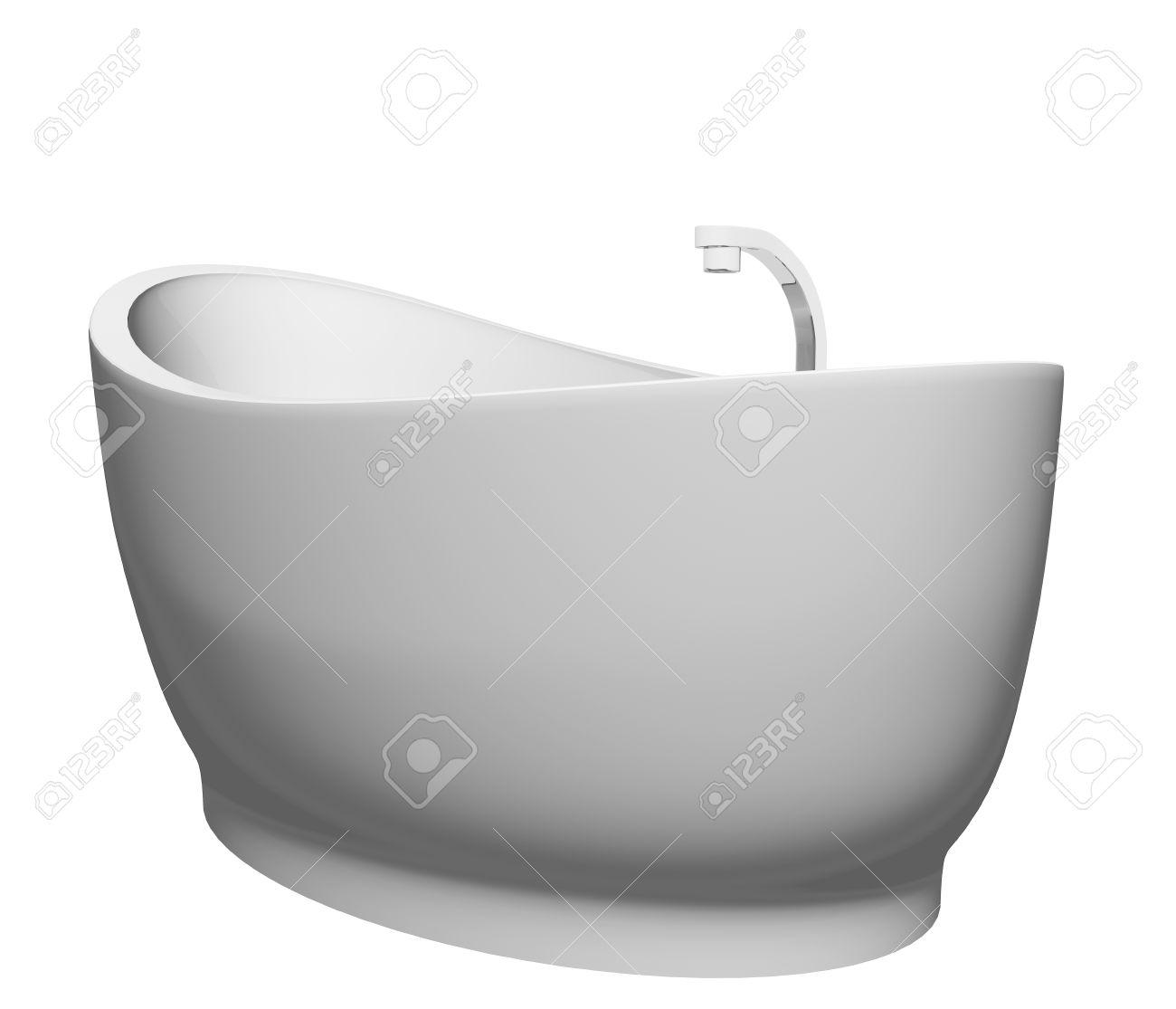 Pedestal Modernen Weißen Badewanne Mit Edelstahl-Armaturen, Vor ...