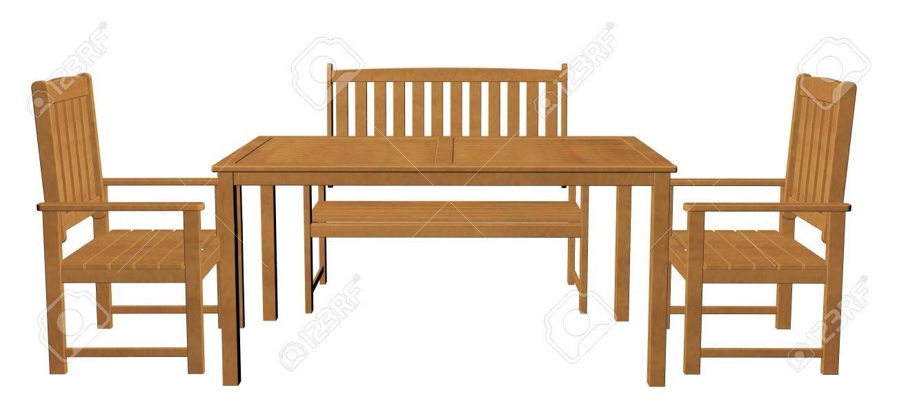 Holz Tisch Stuhl Und Sitz Vor Einem Weißen Hintergrund 3d