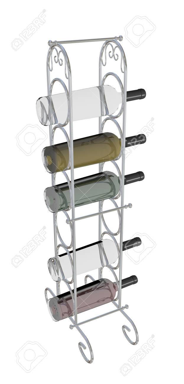 Wijn Flessen Geplaatst Op Een Metalen Wijnrek 3d Illustratie Geãsoleerd Tegen Een Witte Achtergrond