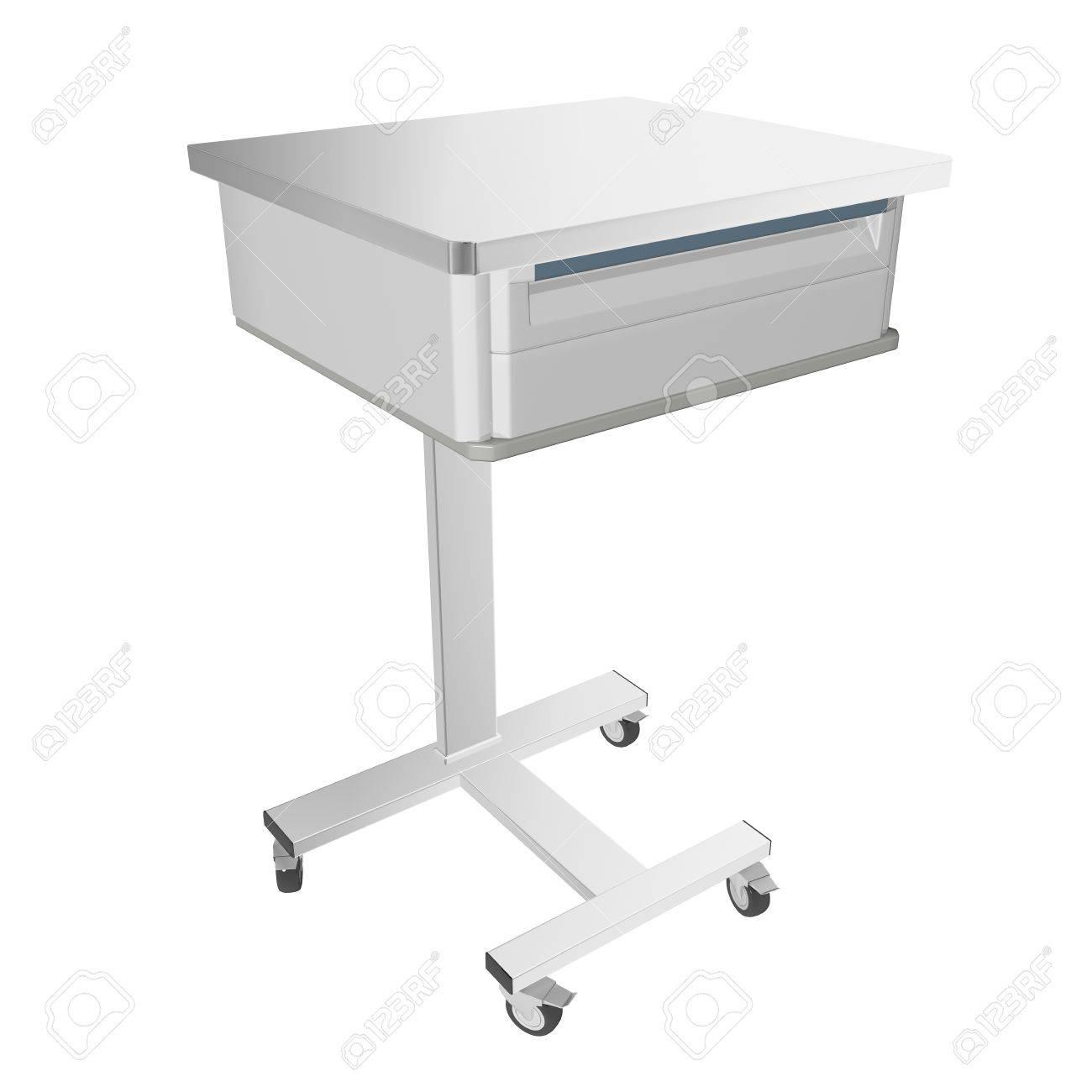 mobil rostfreiem metall medizinische über bett tisch mit schublade