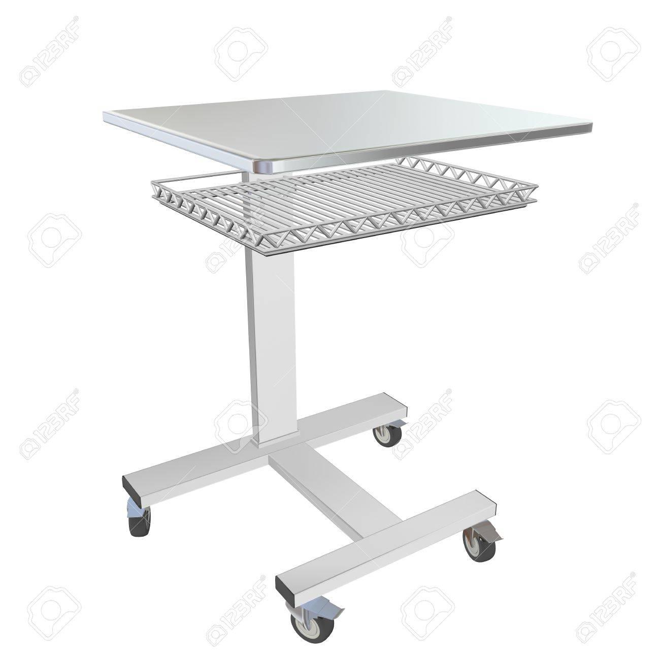 banque dimages mobiles mtalliques mdicaux sur table de lit avec tiroir treillis illustration 3d isol sur un fond blanc - Table De Lit