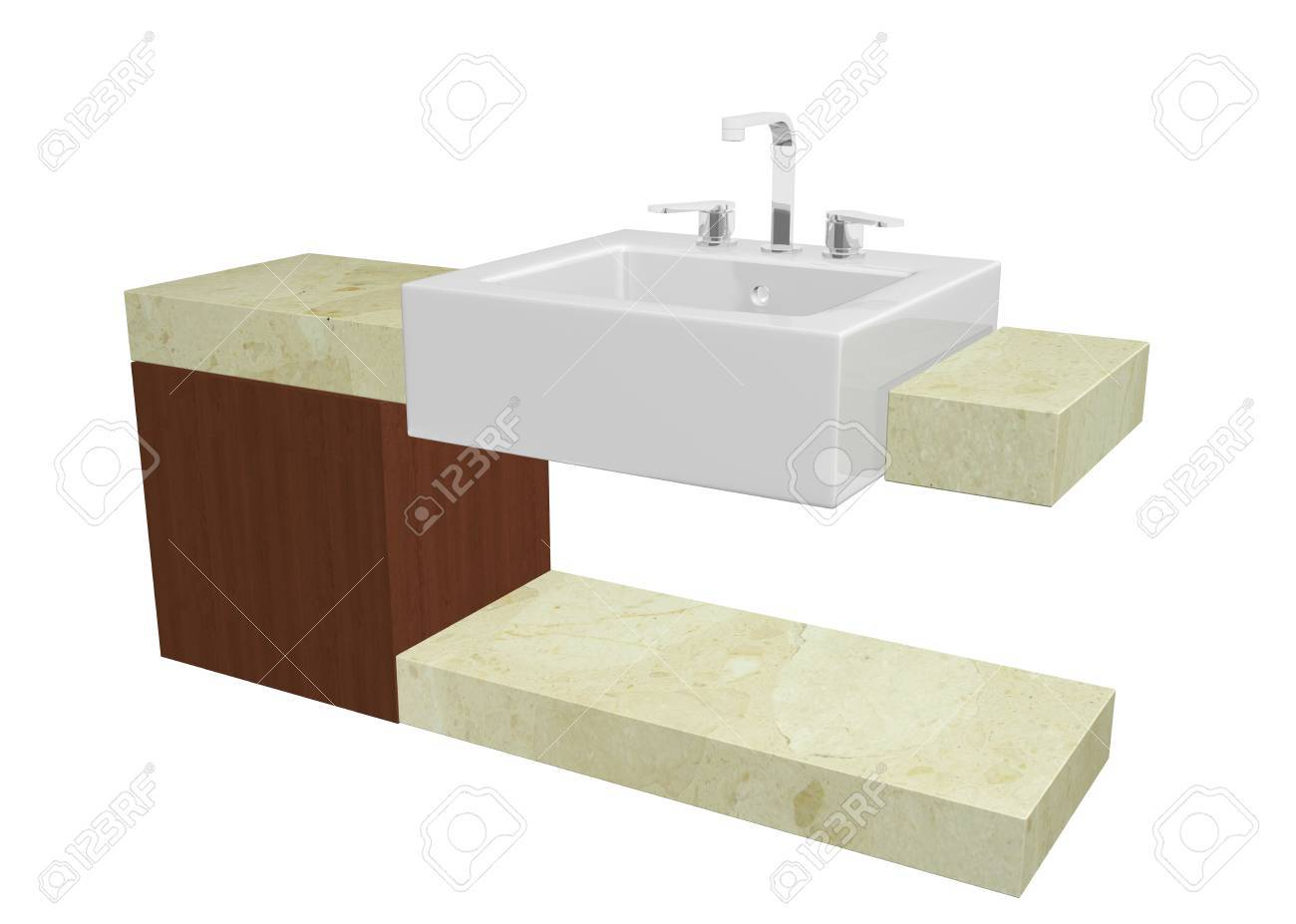 White square sink with chrome faucet, sitting on a marble table or countertop with a mohagany wooden cabinet, isolated against a white background Stock Photo - 10695677