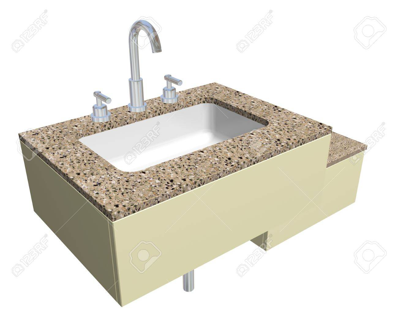 Weiß Integrierten Quadratischen Waschbecken Mit Verchromten ...