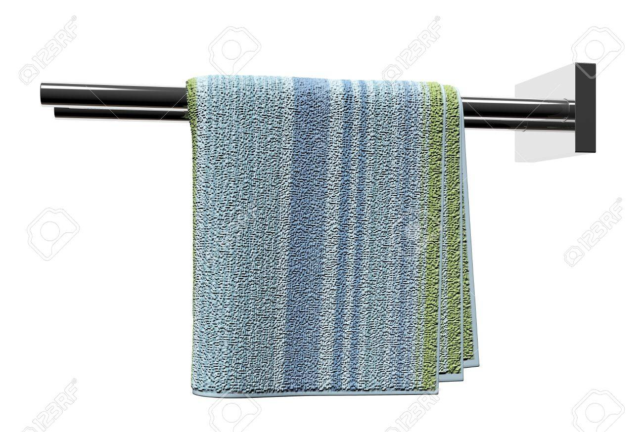 Chrome Towel Holder Rods, With A Cotton Bathroom Towel, Isolated ...