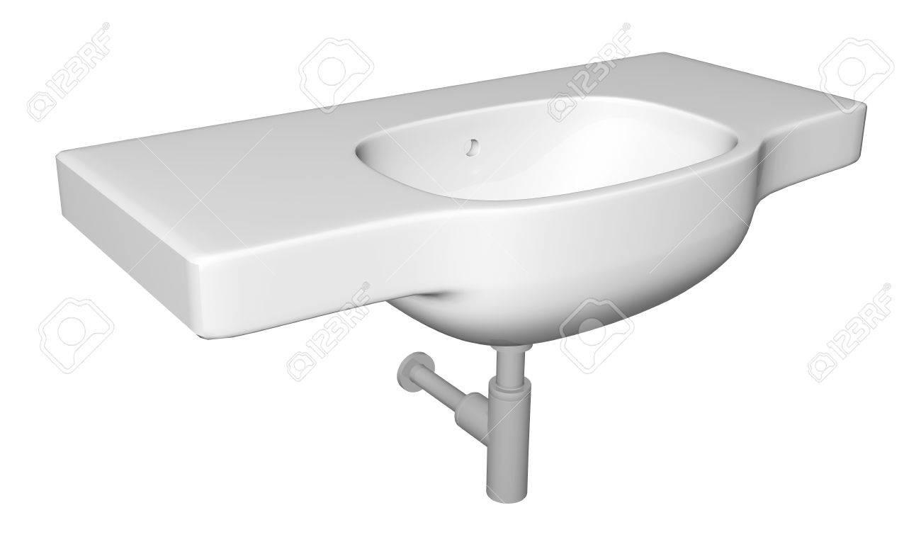 Lavabo ou l\'évier moderne avec des appareils de plomberie robinet et, isolé  sur un fond blanc.