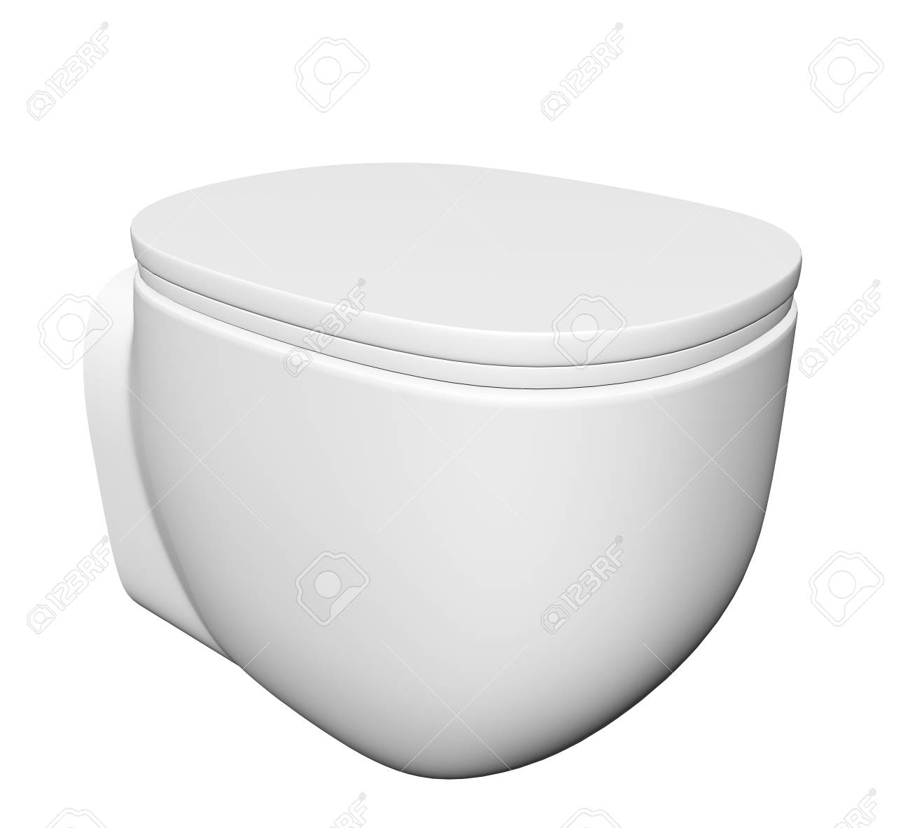 Modern white ceramic and acrylic toilet bowl and lid, isolated against a white background. 3D illustration Stock Illustration - 10698376