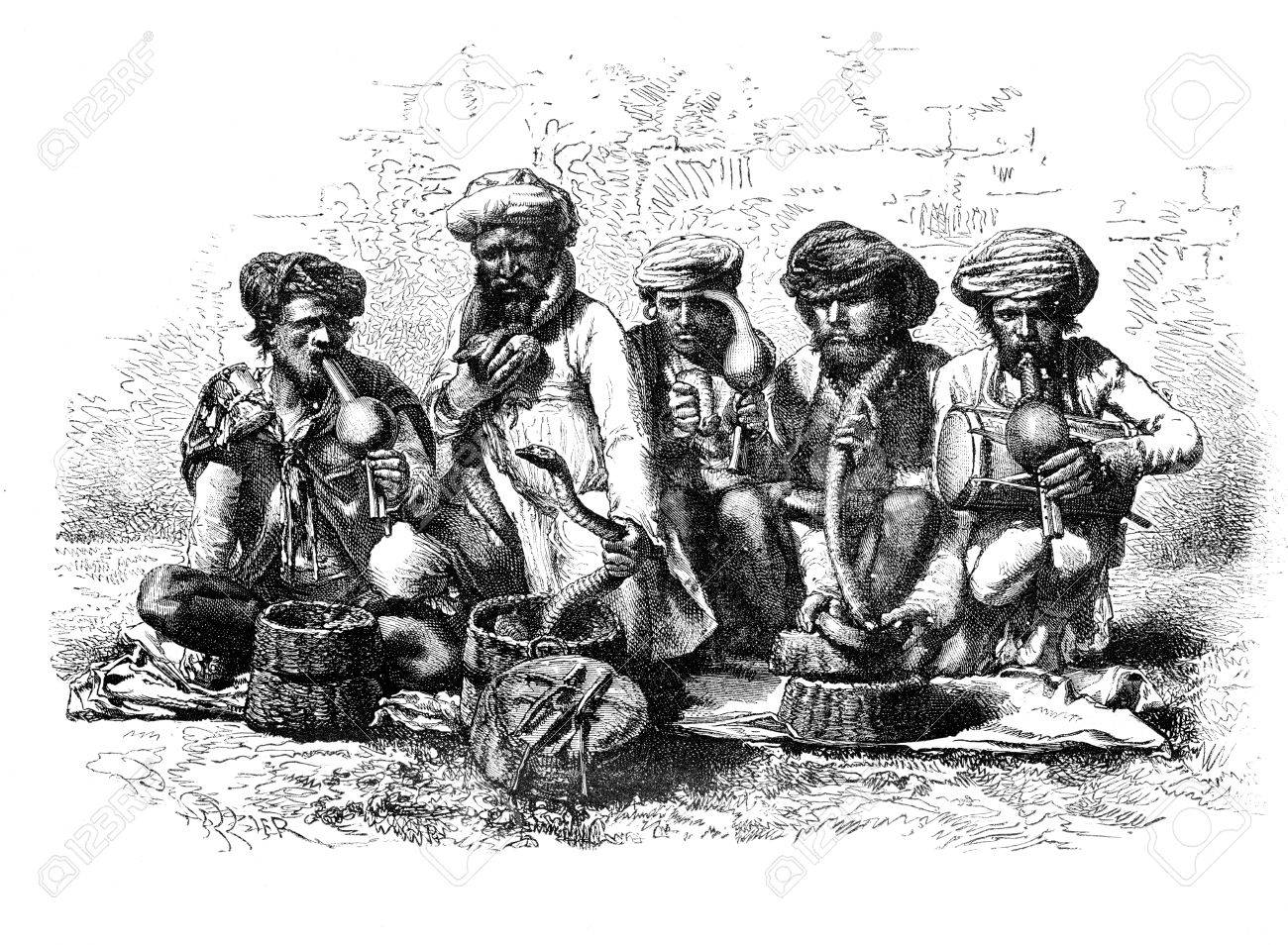 Snake charmers of India. - Drawing Sellier, vintage engraved illustration. Magasin Pittoresque 1875. Stock Illustration - 13708145