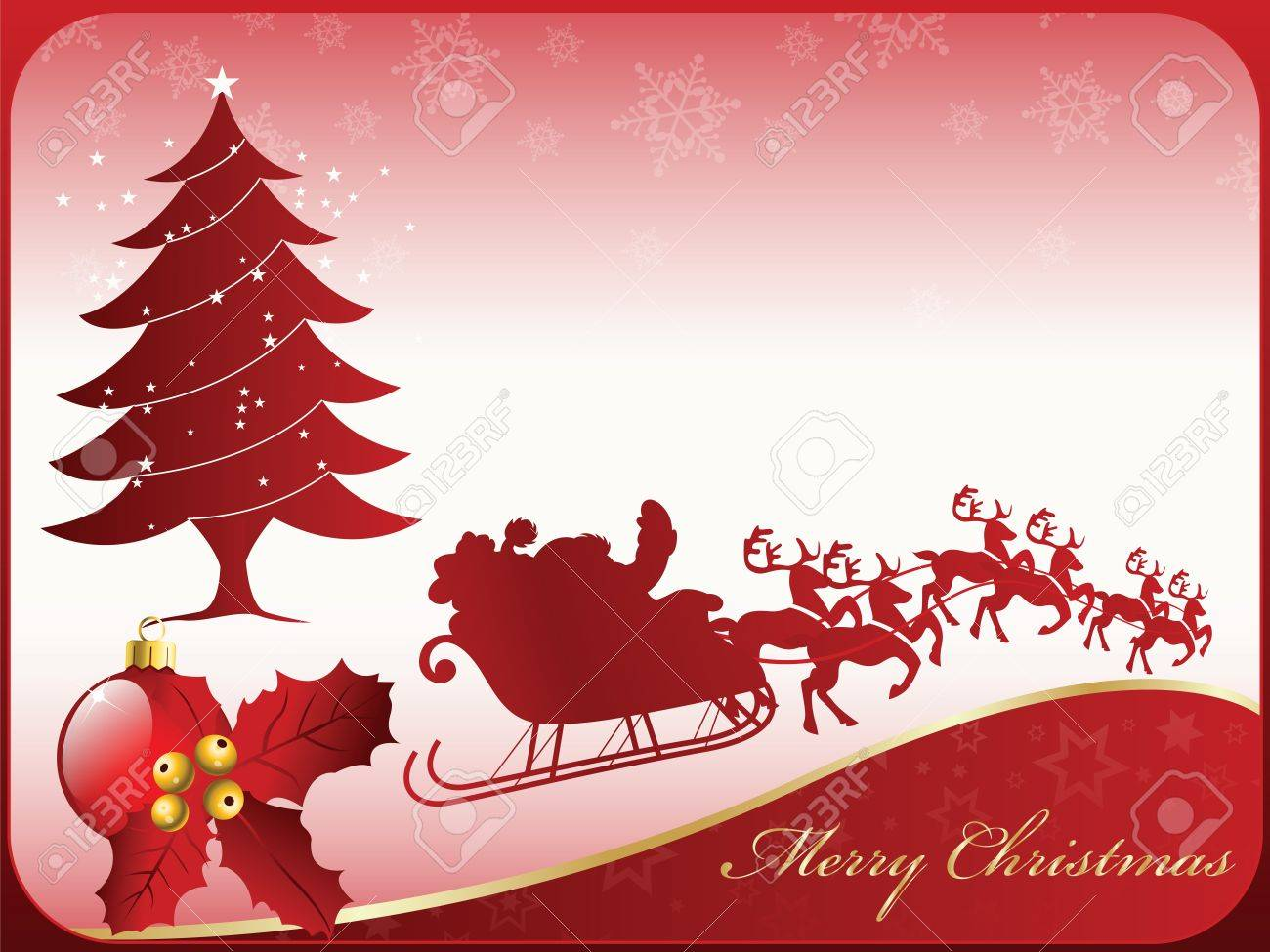 A nice seasonal merry christmas card design with santa claus a nice seasonal merry christmas card design with santa claus and his reindeer a m4hsunfo
