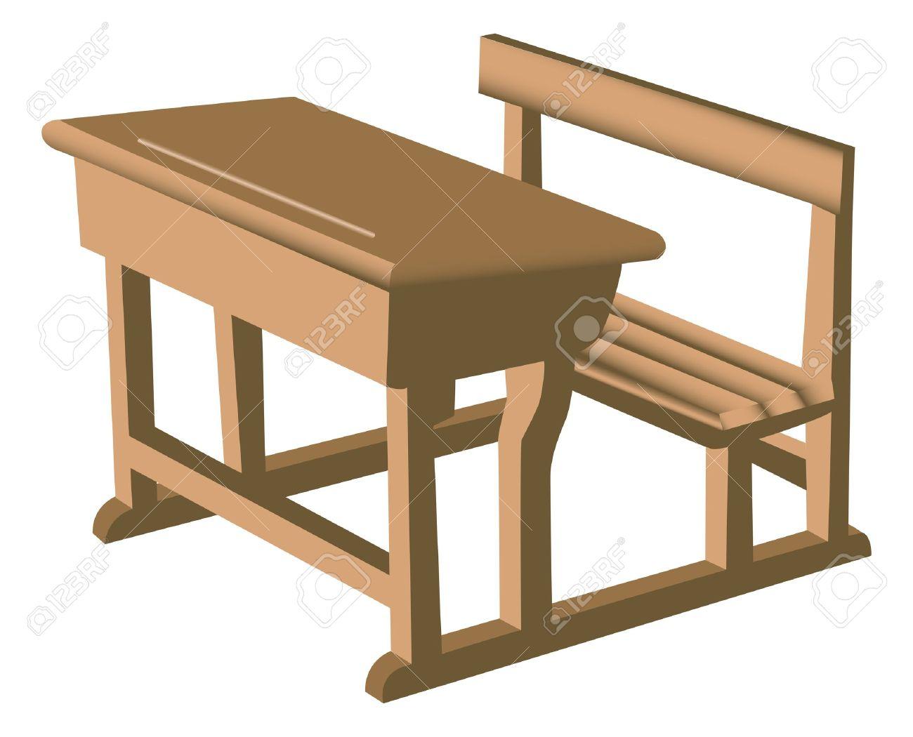 添付の椅子と木製の机のような茶色の学校のイラストのイラスト素材