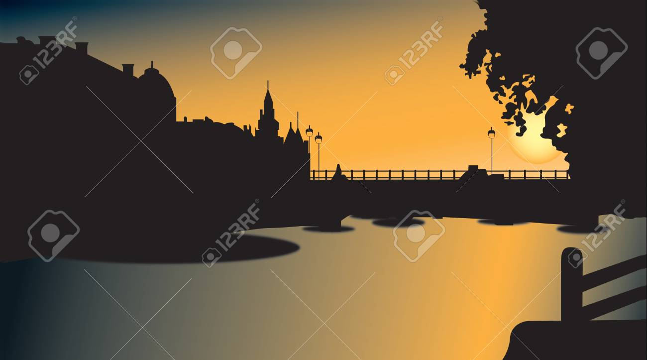Bridge silhouette in sunset Stock Vector - 13651174
