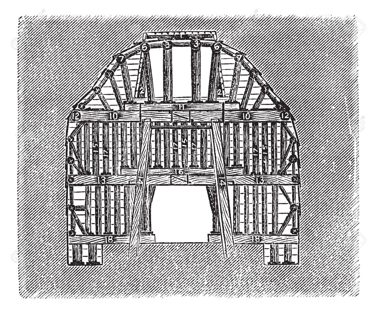 Wooden Tunnel Design, vintage engraved illustration. Trousset encyclopedia (1886 - 1891). Stock Vector - 13708128