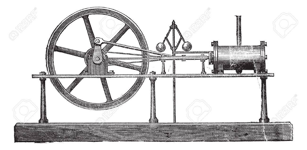 Simple Expansion Steam Engine, vintage engraved illustration