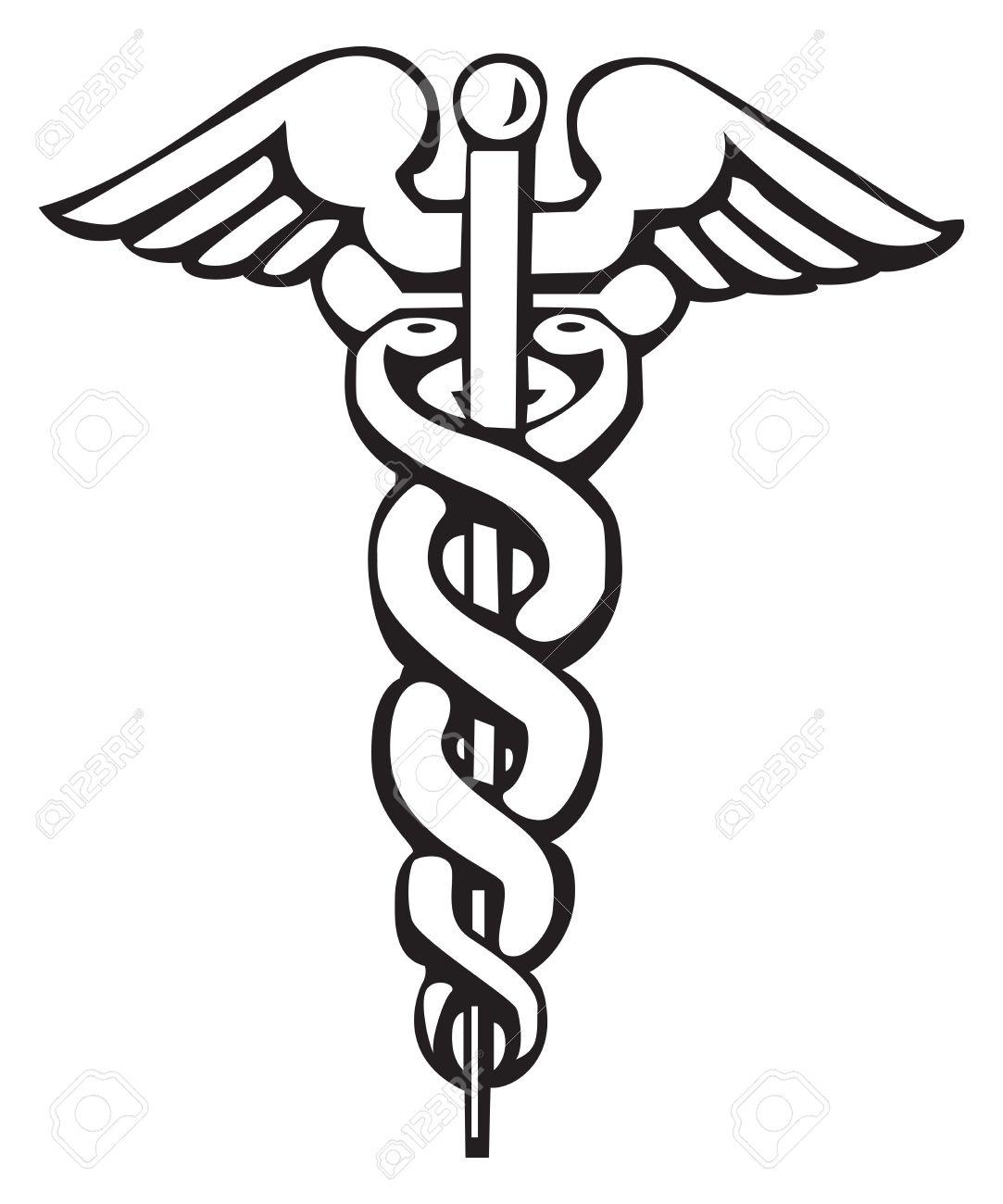Caduceo Signo Griego Simbolo Para El Tatuaje O La Ilustracion - Simbolos-para-tatuaje