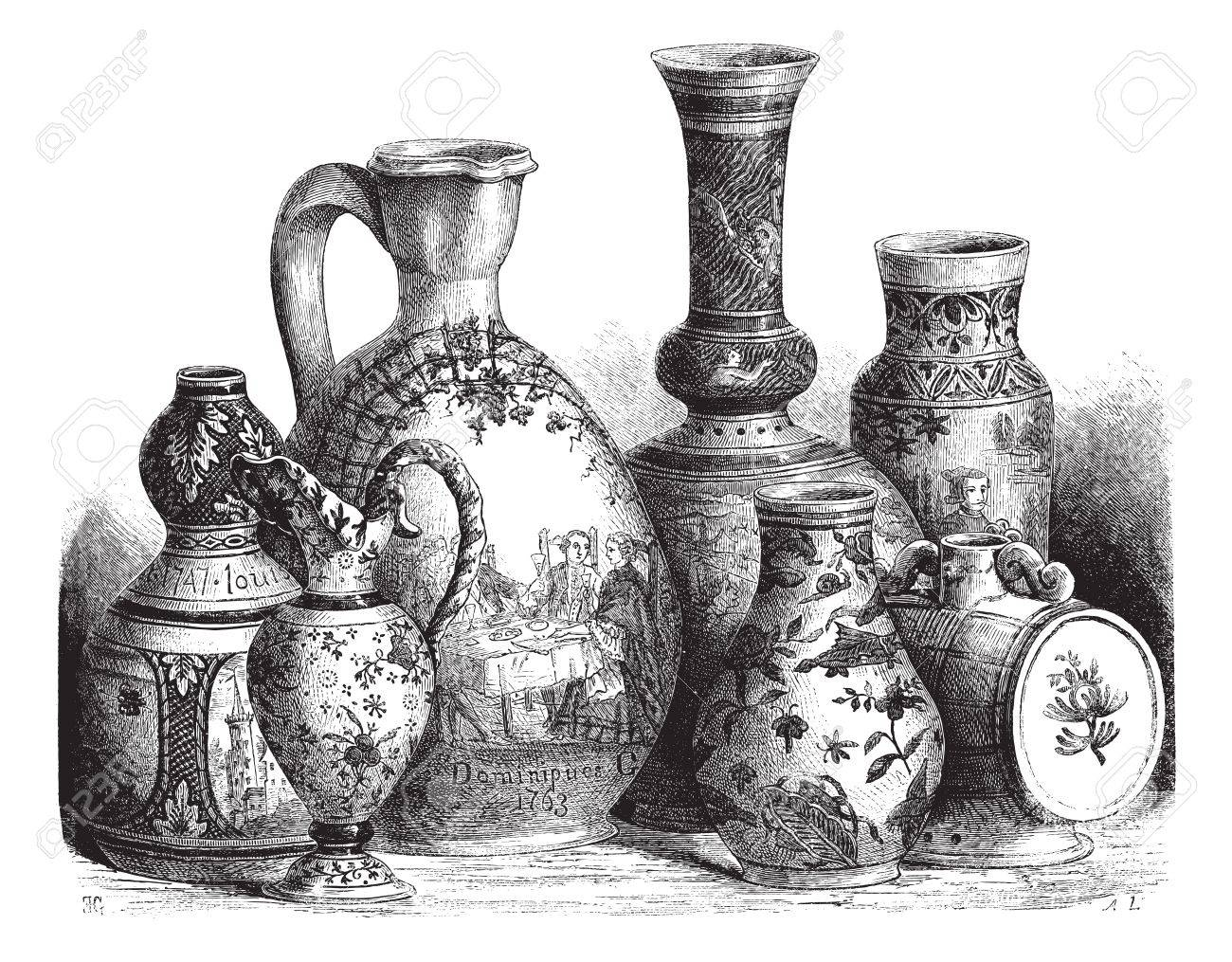 Old engraved illustration of various earthenware of Nevers faience (Tin-glazed pottery) drawing by Edouard Garnier, 1874. Le Magasin Pittoresque ? 1874. Stock Vector - 13772435