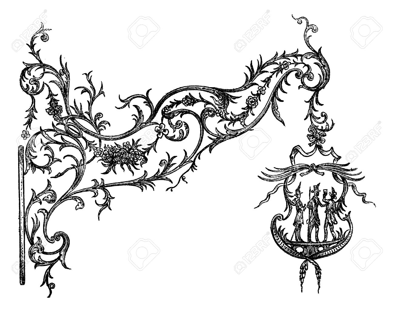 Wrought iron signs, a Temesvar. Drawing Garnier, after the album of Mr. Ernest Desjardins, vintage engraved illustration. Magasin Pittoresque 1875. Stock Vector - 13770260