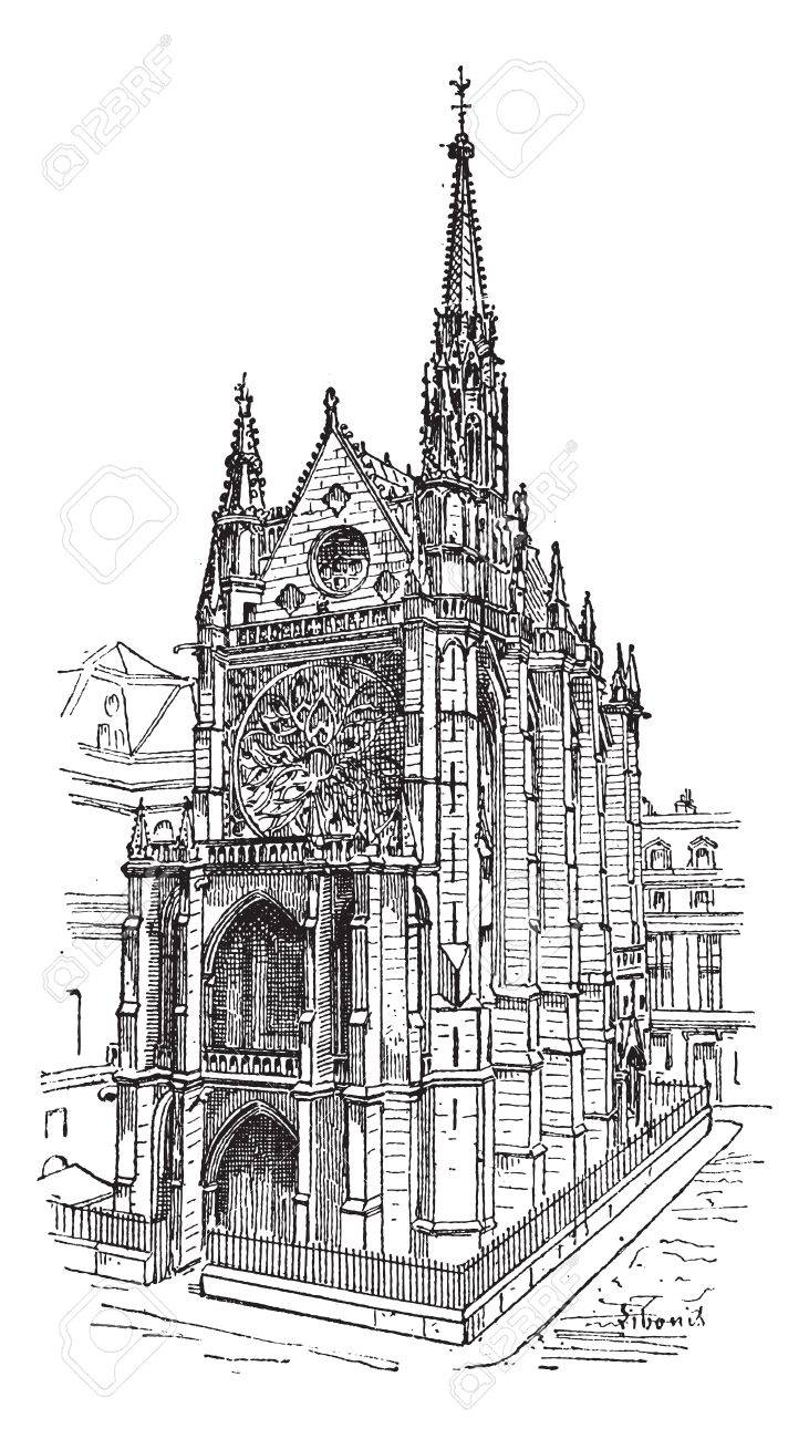 Sainte-Chapelle in Paris, France, vintage engraved illustration. Dictionary of words and things - Larive and Fleury - 1895. Stock Vector - 13770332