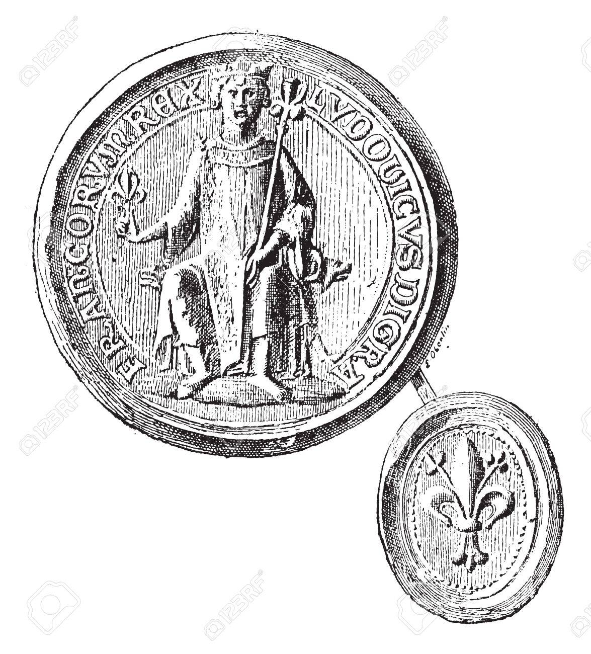 Seal against seal- employees by St. Louis to the first crusade, vintage engraved illustration. Dictionary of words and things - Larive and Fleury - 1895. Stock Vector - 13770506