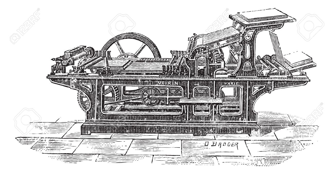 Old engraved illustration of Printing press with one cylinder,