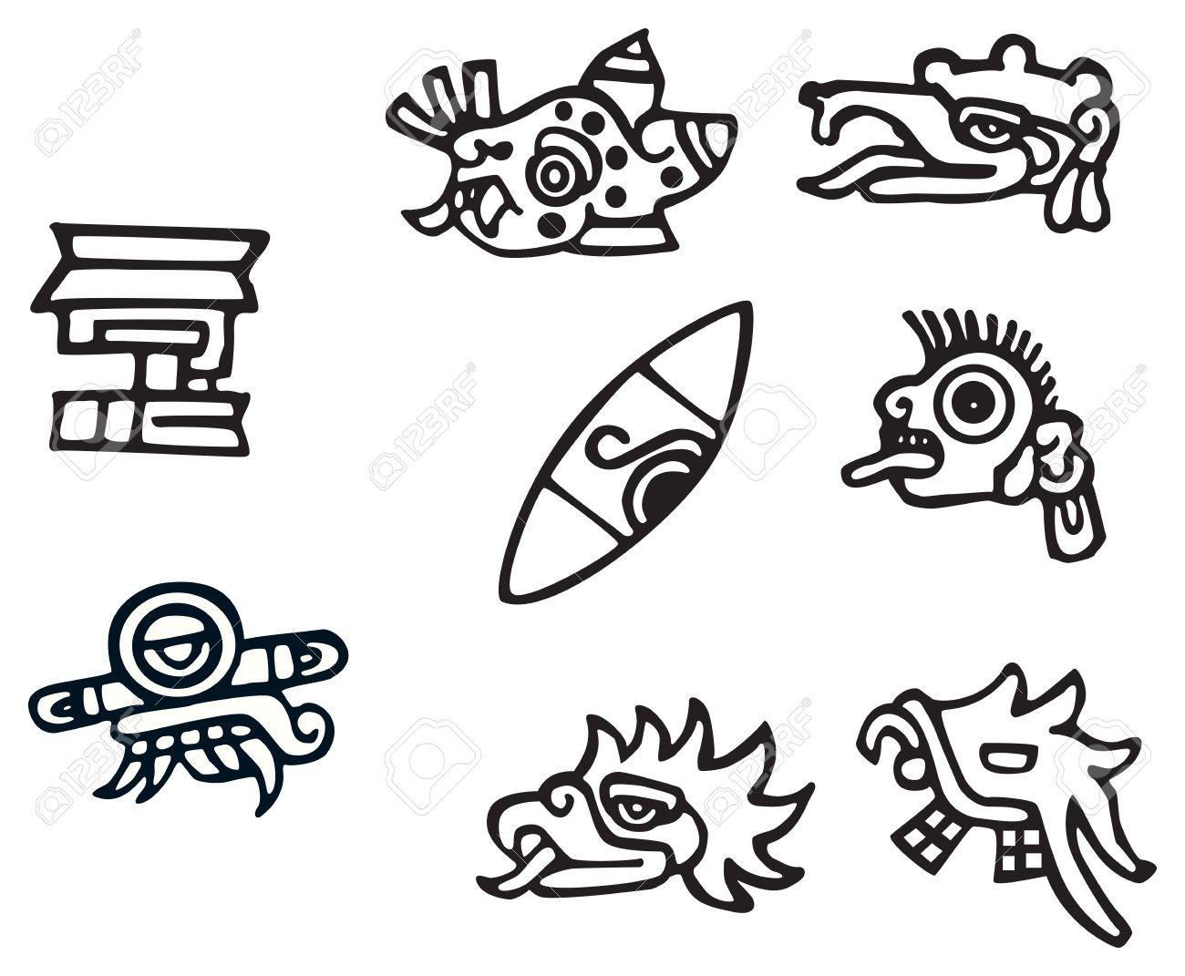 Simbolos Mayas Grandes Ilustraciones Para Los Tatuajes Un Monton - Simbolos-para-tatuaje