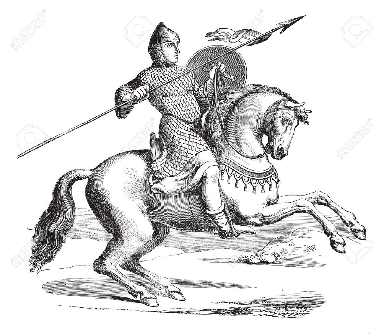 Old Engraved Illustration Of Knight On A Horse Wearing Hauberk Royalty Free Cliparts Vectors And Stock Illustration Image 13771566