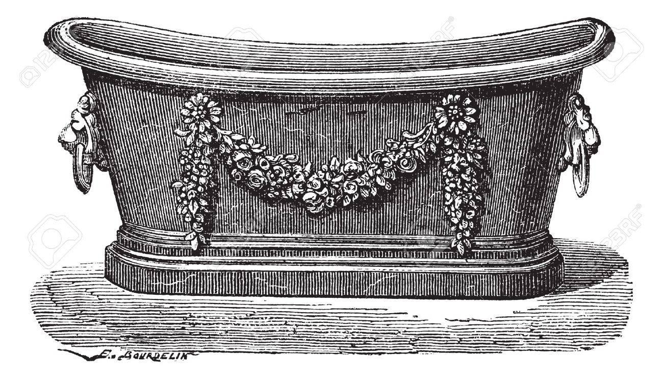Old engraved illustration of zinc bathtub. Industrial encyclopedia E.-O. Lami - 1875. Stock Vector - 13770746