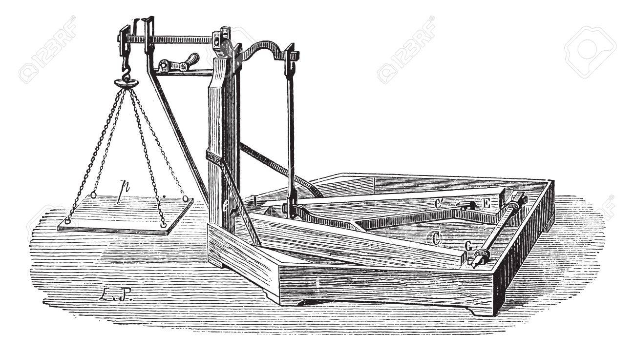Old engraved illustration of Quintenz scale. Industrial encyclopedia E.-O. Lami - 1875. Stock Vector - 13770130