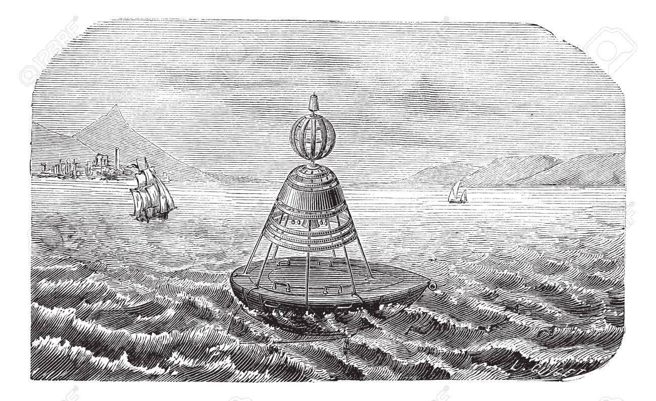 Old engraved illustration of Bell Buoy. Industrial encyclopedia E.-O. Lami - 1875. - 13771637