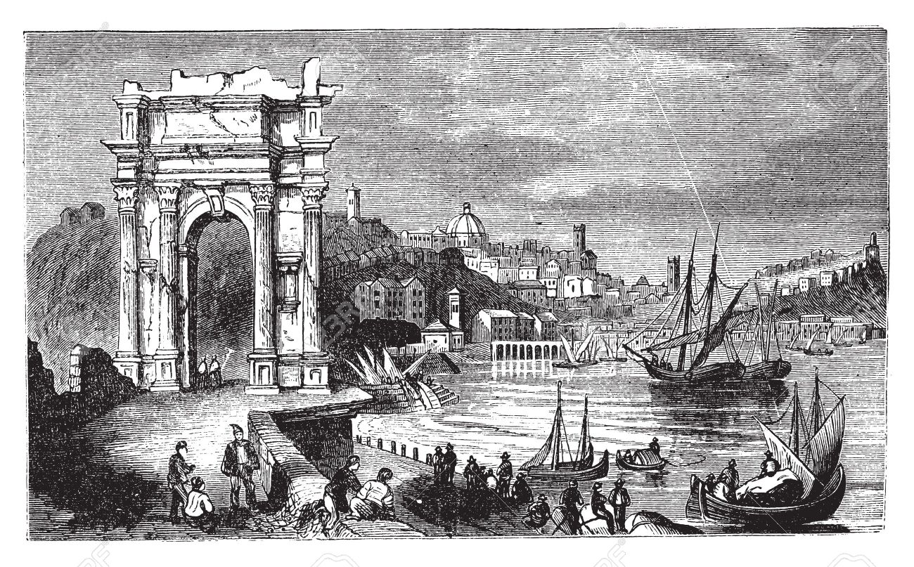 Ancona and the Arches of Trajan, Italy. Scene from 1890, old vintage illustration. Trajan arches and harbour scenery engraved illustration in vector. Stock Vector - 13772365