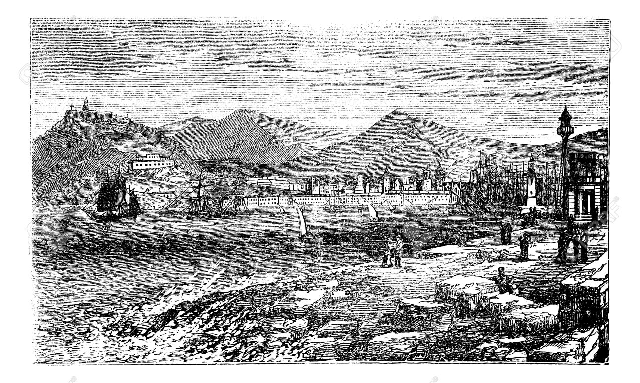 Barcelona, in Spain, during the 1890s, vintage engraving. Old engraved illustration of Barcelona showing port, ship and citizens. Stock Vector - 13772397