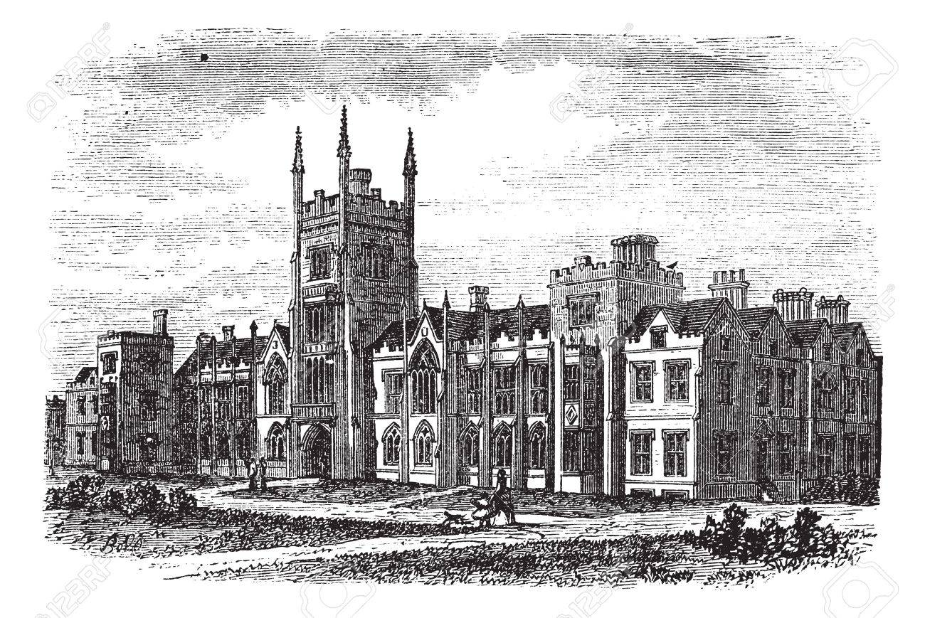 Queen's University in Belfast, Ireland, during the 1890s, vintage engraving. Old engraved illustration of Queens University in Belfast. Stock Vector - 13771828
