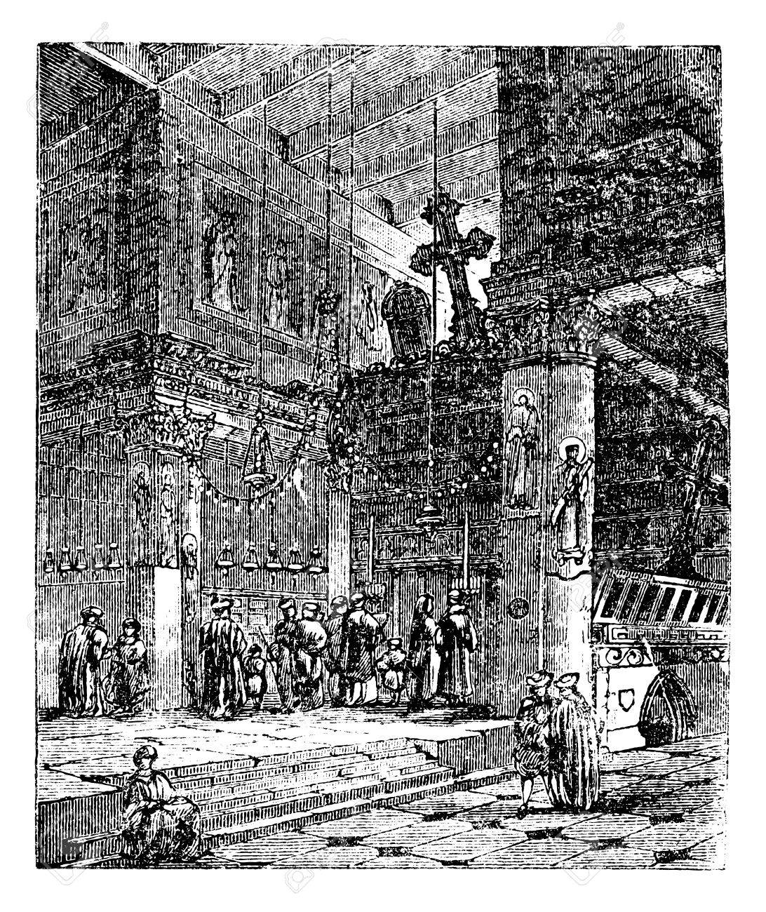 Church of the Nativity, church, Bethlehem, Israel, old engraved illustration of Church of the Nativity, Bethlehem, Israel, in the 1890s Stock Vector - 13772343