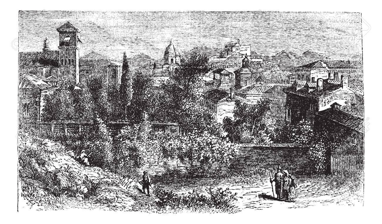 Brescia, city, Lombardy, Italy, old engraved illustration of Brescia, city, Lombardy, Italy, 1890s. Stock Vector - 13772369