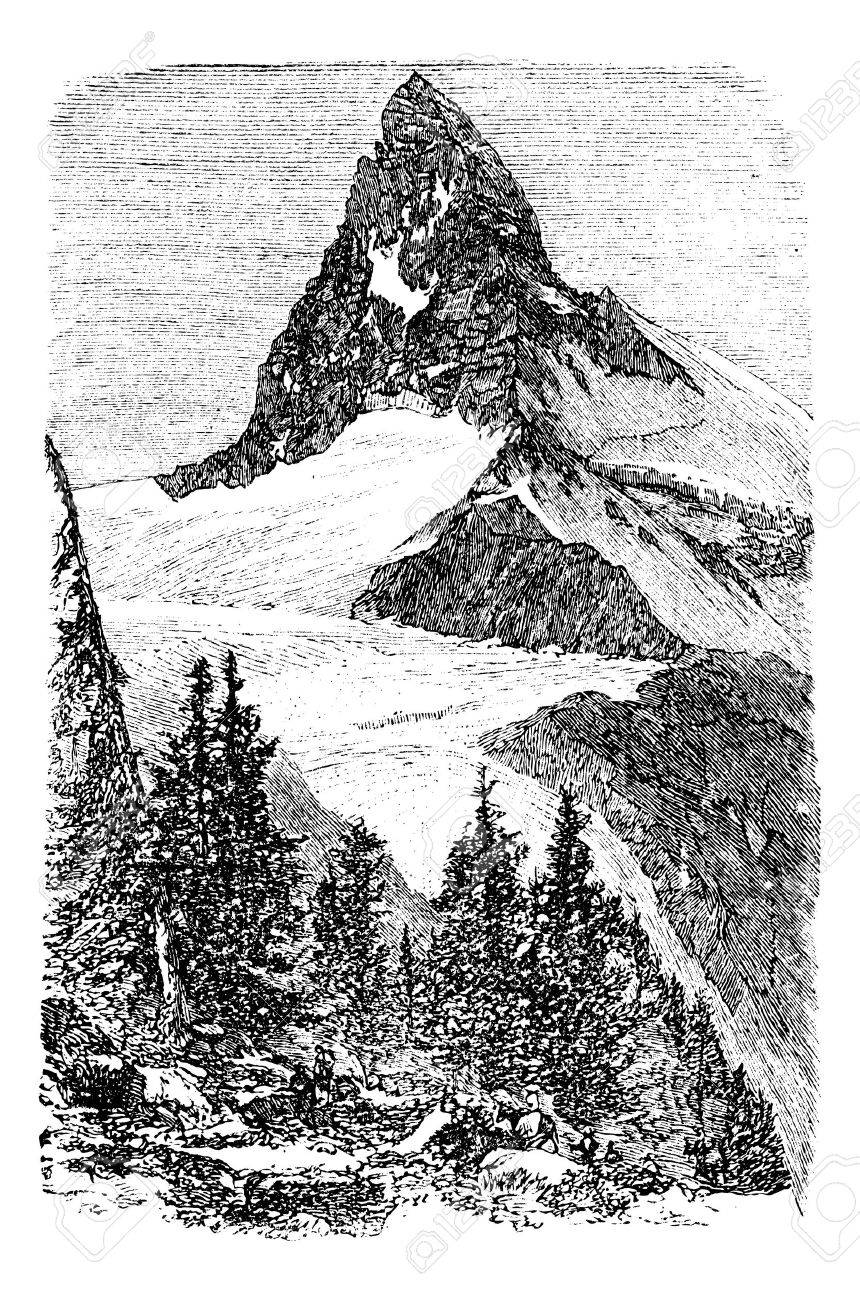 The Matterhorn mountain or Monte cervino, Zermatt, Switzerland vintage engraving. Old engraved illustration of beautiful Matterhorn with trees in the foreground. Stock Vector - 13772233