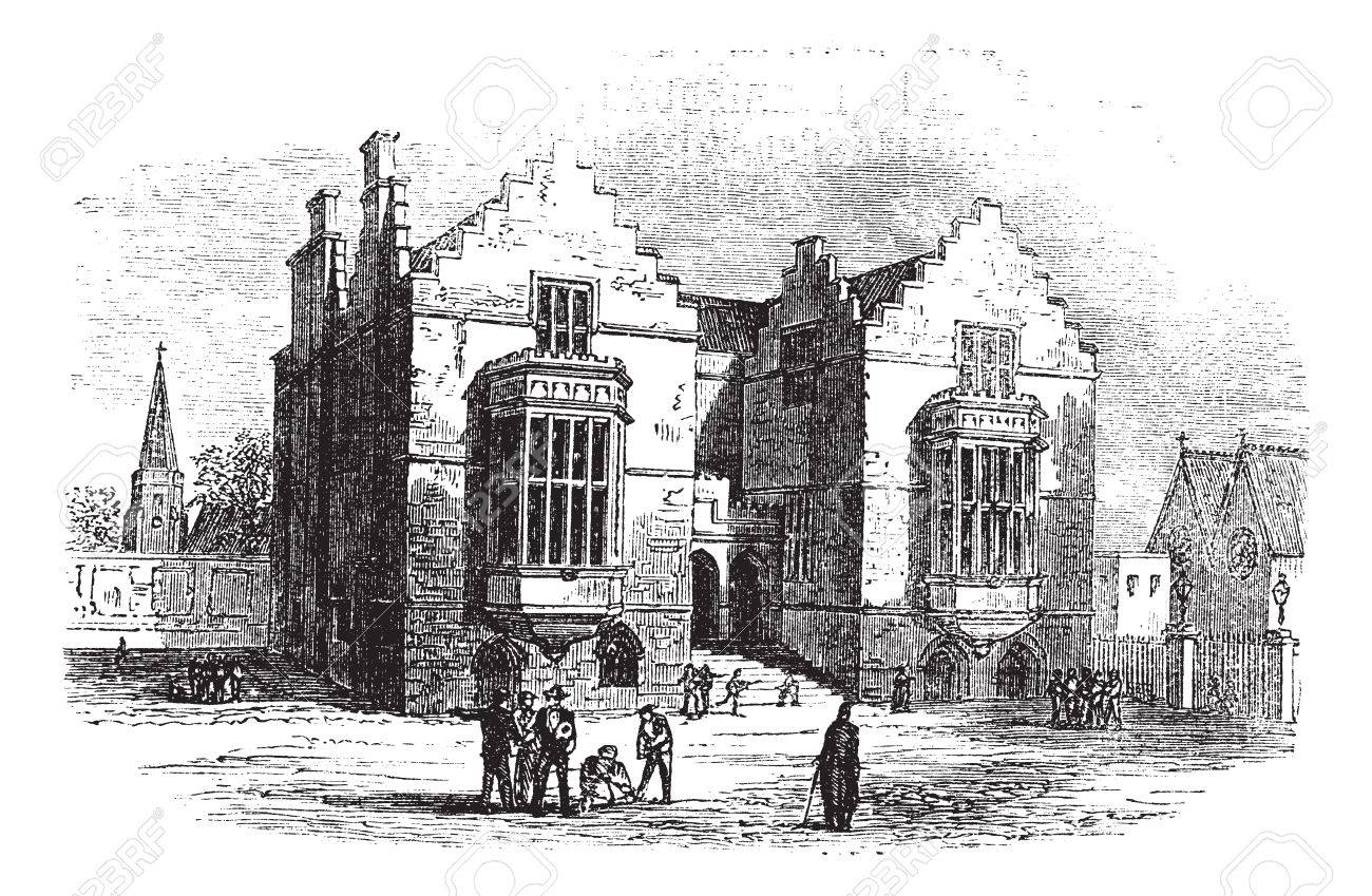 Harrow school vintage engraving. Old engraved illustration of harrow architecture, during 1800s. Stock Vector - 13771826