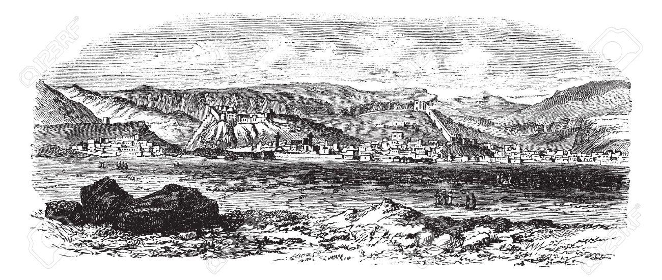 Landscape and mountains at Kars, Turkey vintage engraving. Old engraved illustration of landscape and mountains at kars, Turkey during the 18th century. Stock Vector - 13771791