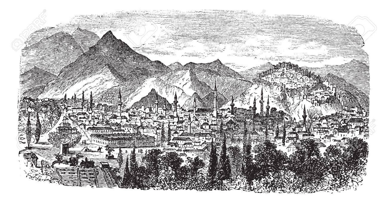 K�tahya or Kotyaion or  Cotyaeum city view, Western Turkey vintage engraving. Old engraved illustration of residential structures and mountains at Kutahya, Turkey, 1800s. Stock Vector - 13771761