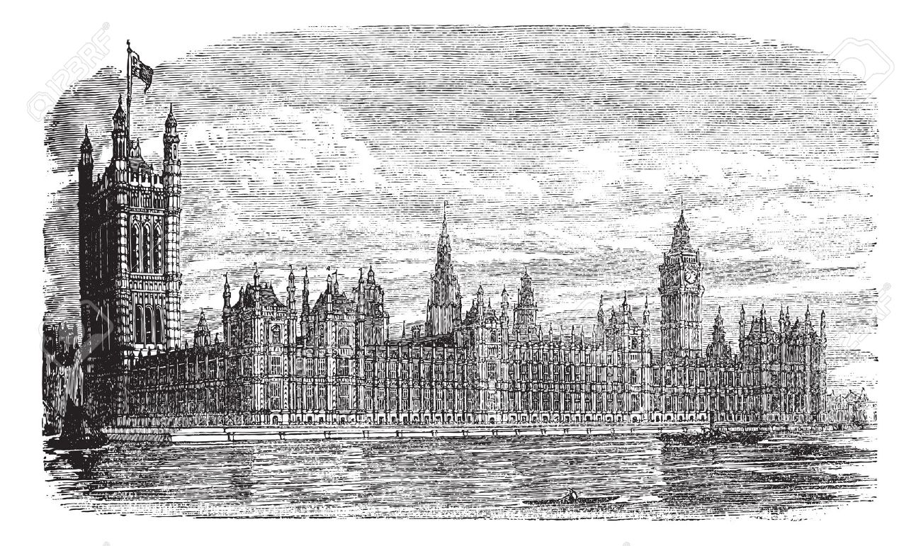 Palace of Westminster or Houses of Parliament or Westminster Palace in London, England, during the 1890s, vintage engraving. Old engraved illustration of Palace of Westminster with river Thames in front. Stock Vector - 13772341
