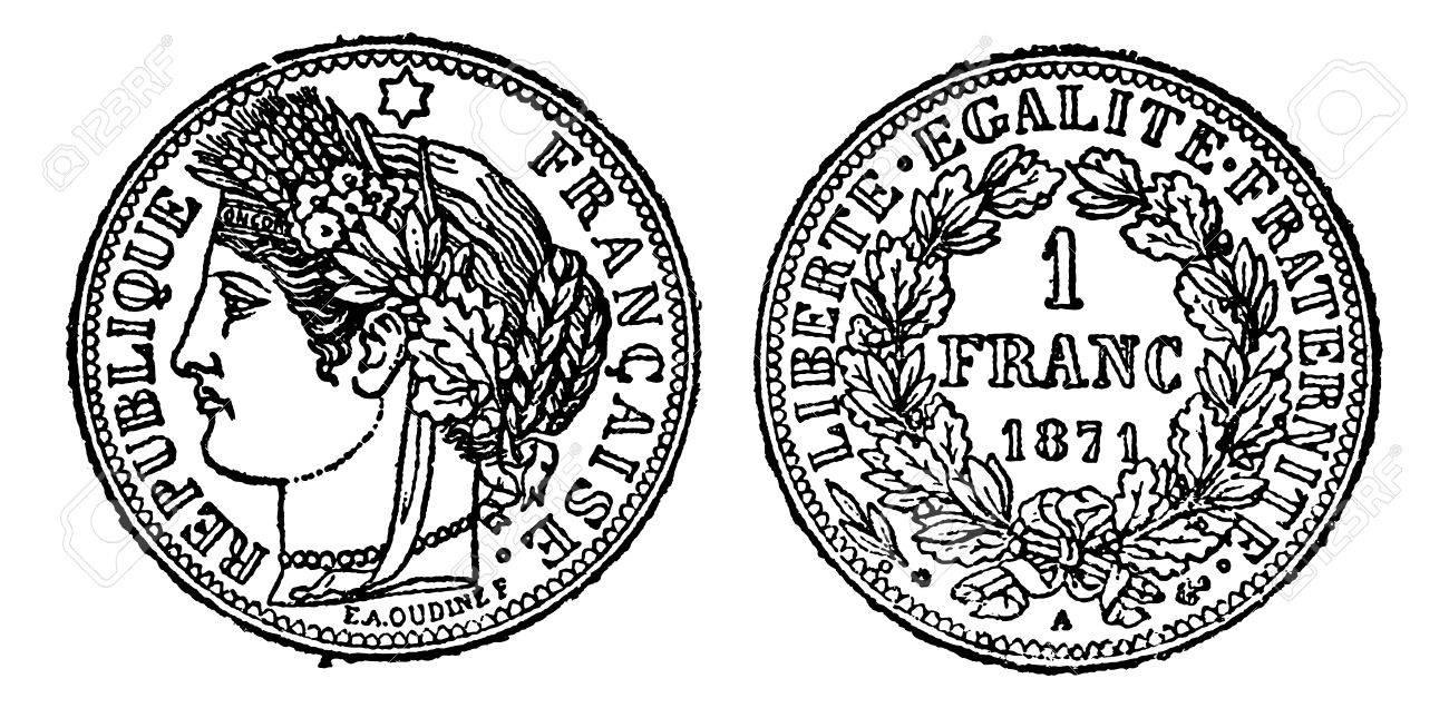 Piece of silver 1 franc, vintage engraved illustration. Trousset encyclopedia (1886 - 1891). Stock Vector - 13766878