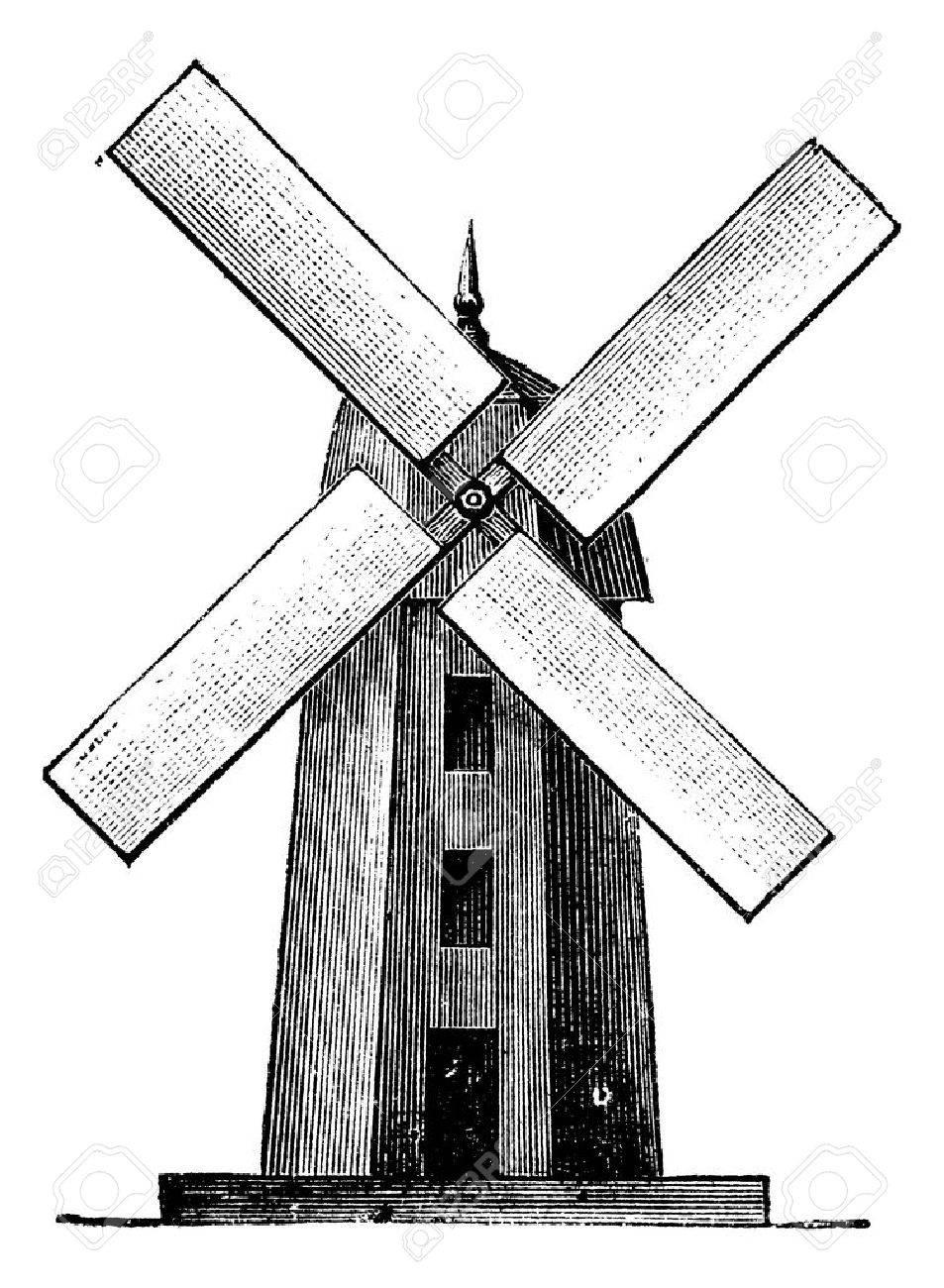 Windmill, vintage engraved illustration. Trousset encyclopedia (1886 - 1891). Stock Vector - 13770598