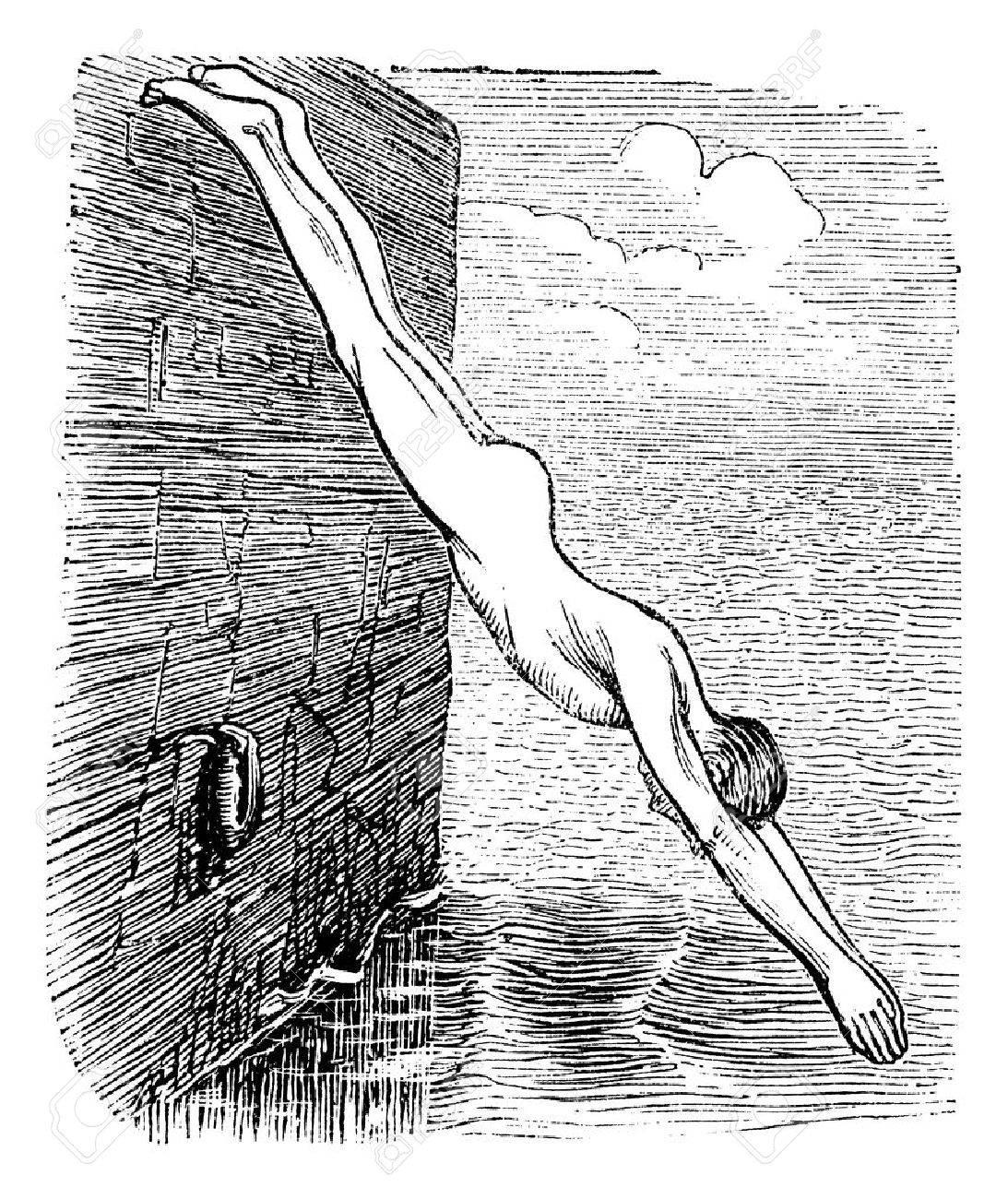 Position During Diving, vintage engraved illustration. Trousset encyclopedia (1886 - 1891). Stock Vector - 13771470