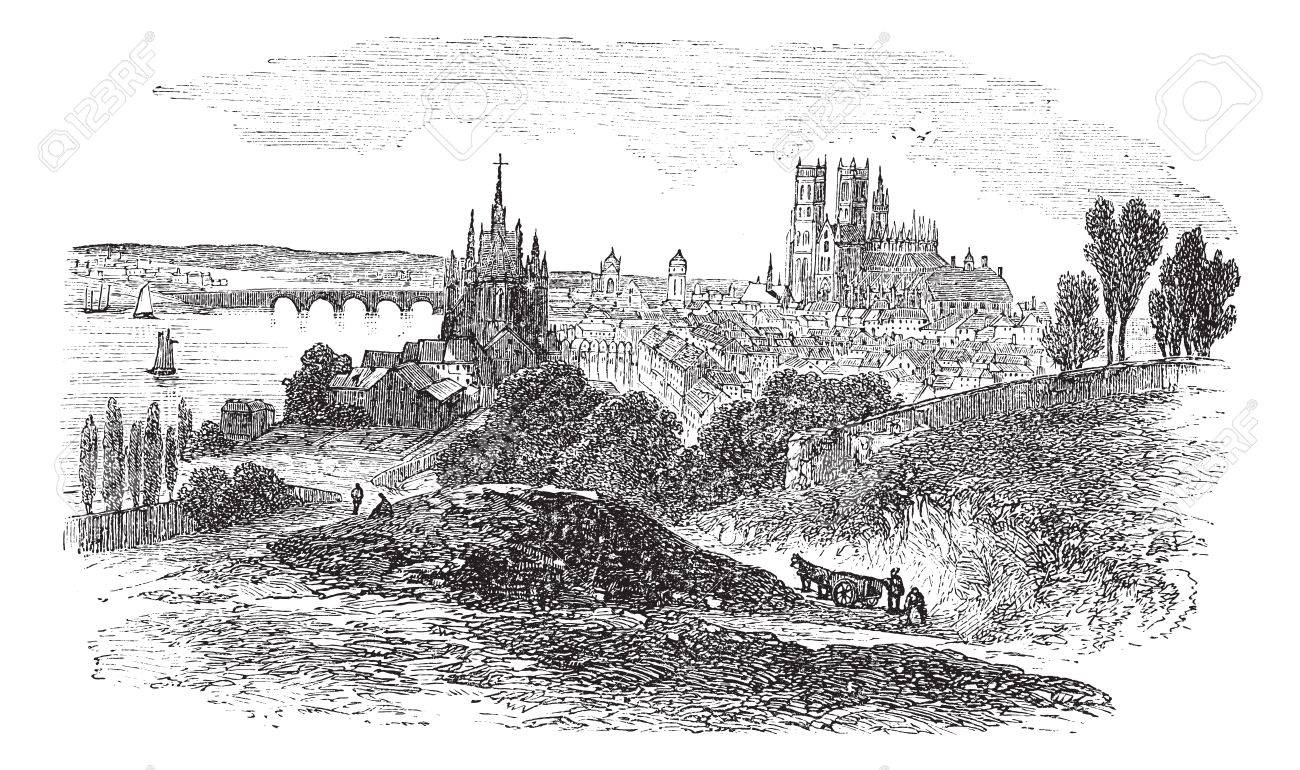 Cityscaoe of Orleans city, France, vintage engraved illustration. Trousset encyclopedia (1886 - 1891). Stock Vector - 13772283