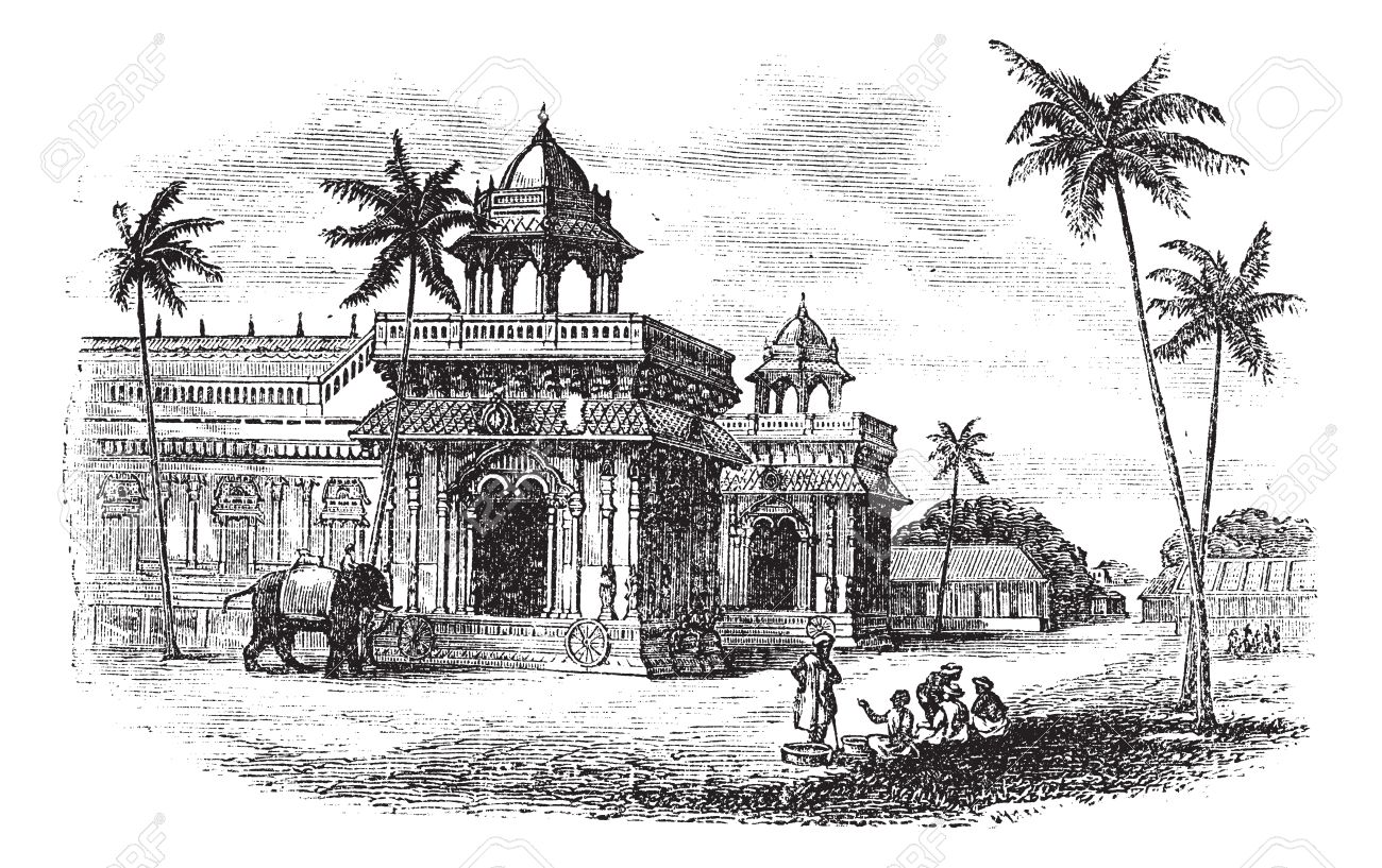 Tanjore Palace, vintage engraved illustration. Exterior of Tanjore palace. Trousset encyclopedia (1886 - 1891). Stock Vector - 13771822