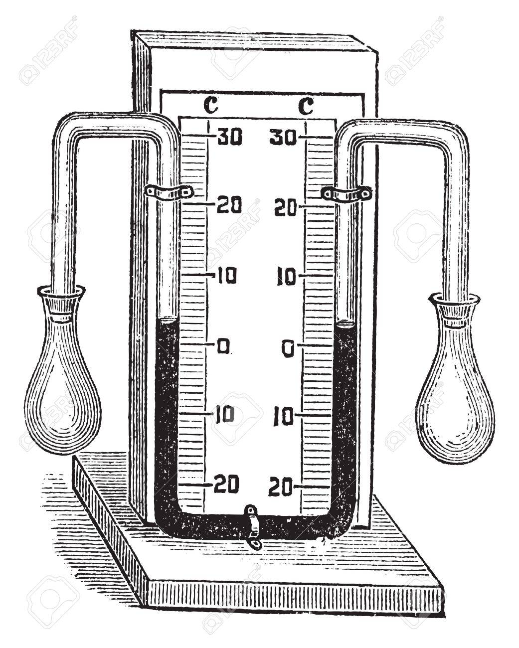 Differential thermometer. vintage engraved illustration. Medical thermometer on white. Trousset encyclopedia (1886 - 1891). Stock Vector - 13766976
