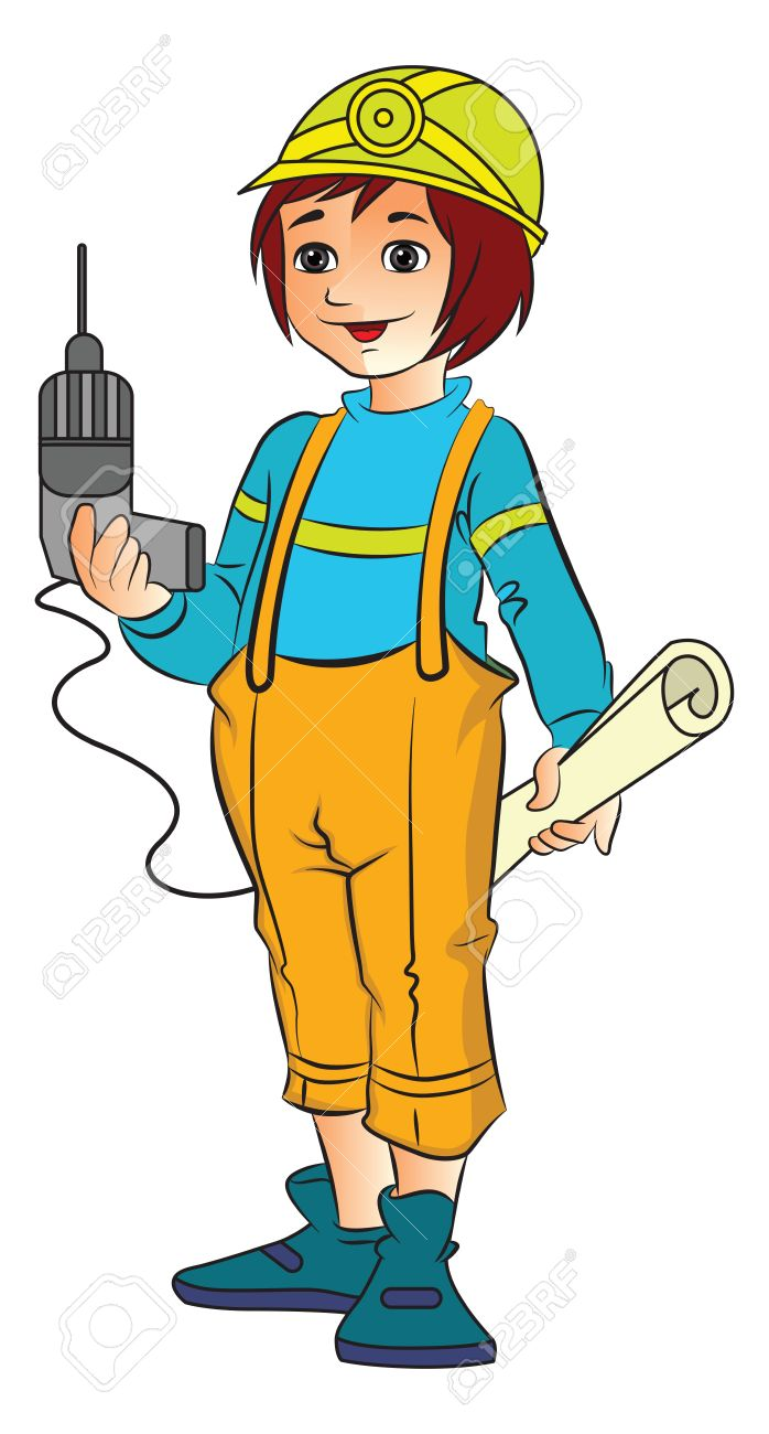 Young Female Construction Worker With An Electric Drill And Plans Vector Illustration Stock