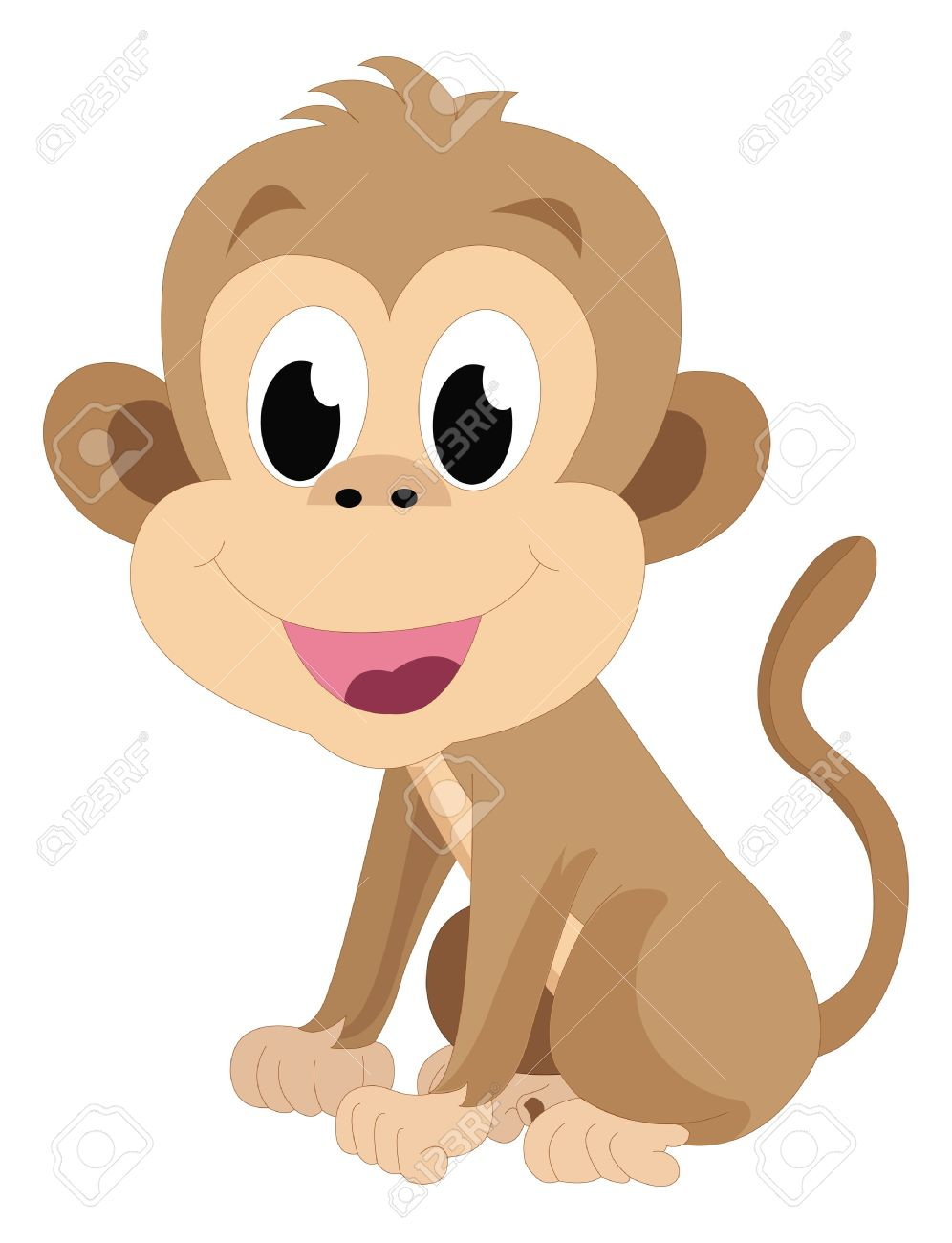 Baby monkey, brown, smiling, vector illustration Stock Vector - 22066769