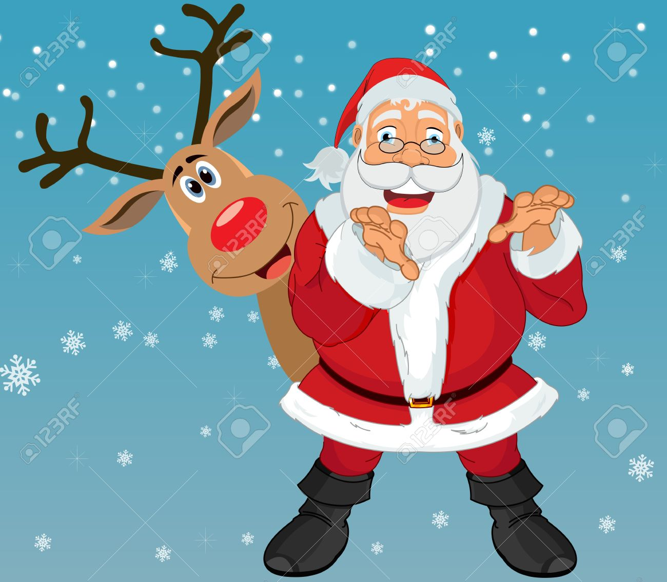 Uncategorized Santa And Rudolph santa claus and rudolph the reindeer in blue background with snowflakes vector illustration stock vector